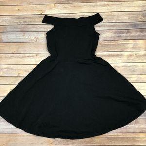 ASOS Black Caged Off Shoulder Flare Mini Dress